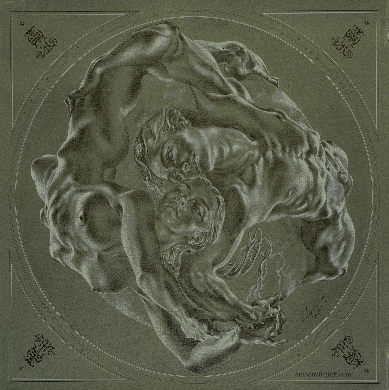 Limited Edition Lithographic Print - ' Love Enveloping The World ' by Artist Anthony Brandt , The Modern Michelangelo
