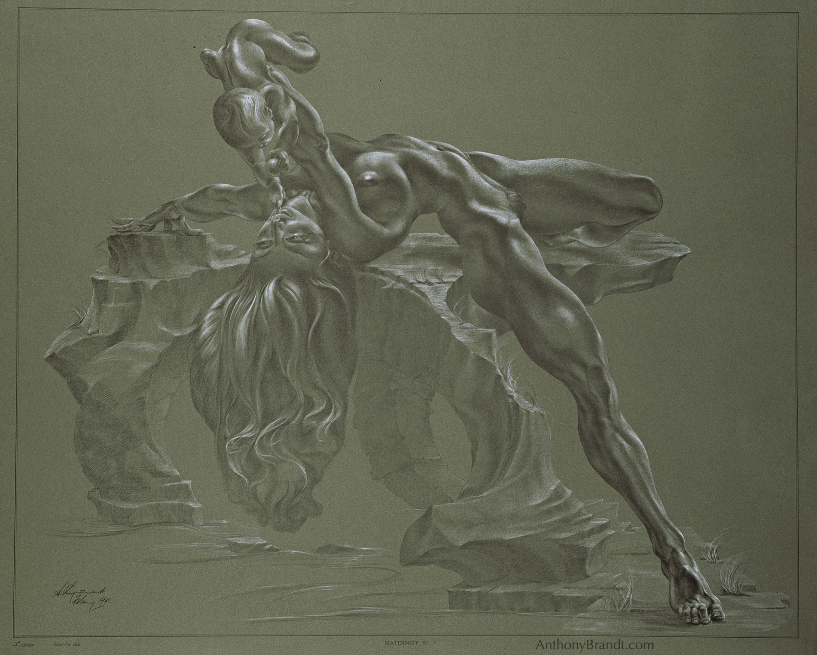 Limited Edition Lithographic Print - Maternity by Artist Anthony Brandt , The Modern Michelangelo