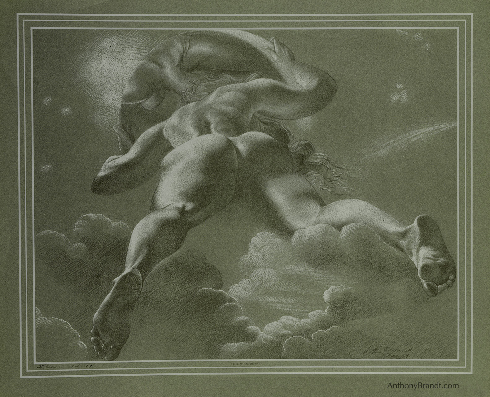 Limited Edition Lithographic Print - ' The Moon Dealer ' by Artist Anthony Brandt , The Modern Michelangelo