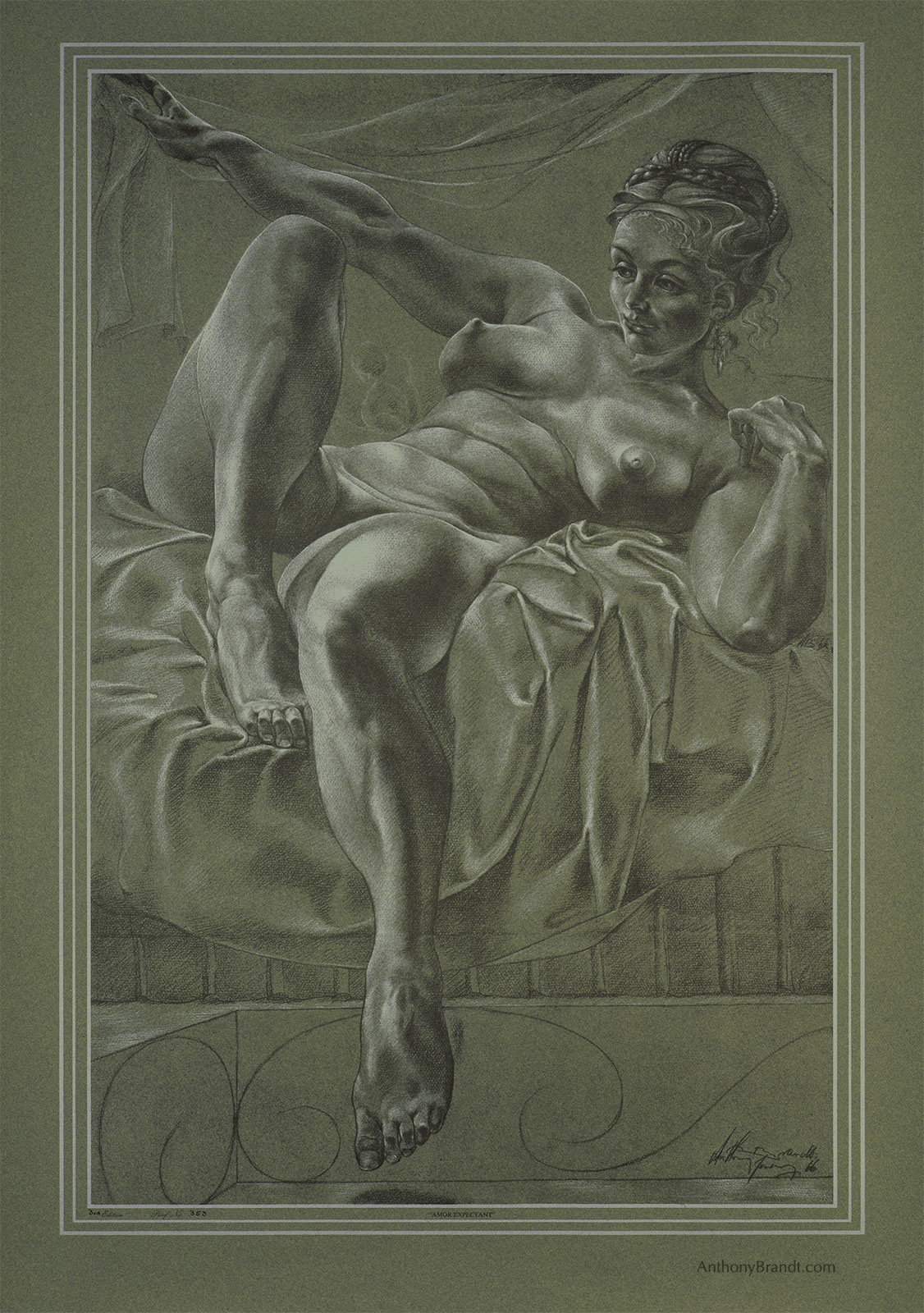 Limited Edition Lithographic Print - ' Amor Expectant' by Artist Anthony Brandt , The Modern Michelangelo