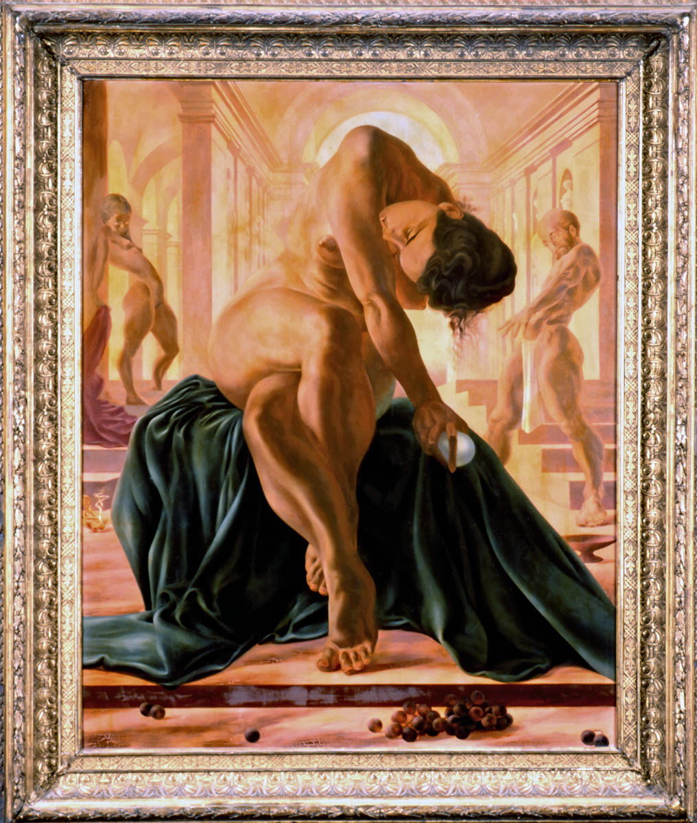 Crossed legs oil painting by Artist Anthony Brandt - Britain's modern Michaelangelo