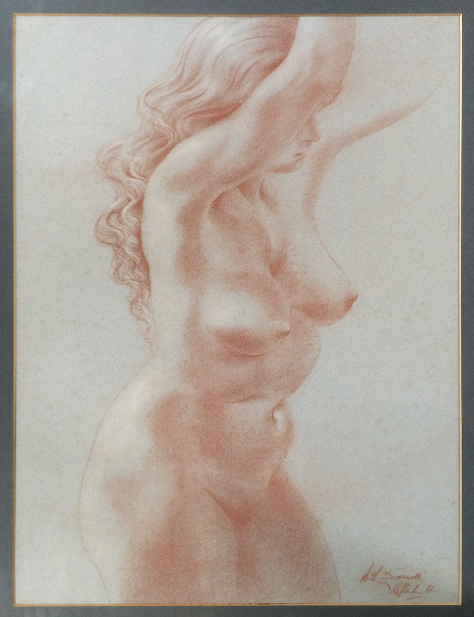 Anthony Brandt sanguine nude with arms uplifted