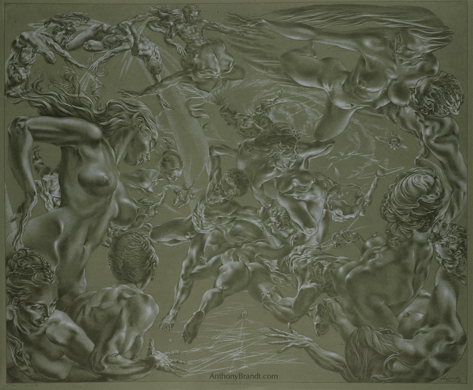 Limited Edition Lithographic Print - 'The Creation Of The Cosmos ' by Artist Anthony Brandt , The Modern Michelangelo
